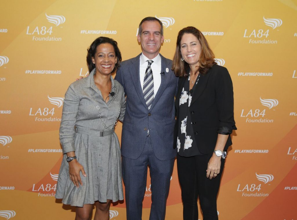 LA84 President/CEO Renata Simril, Los Angeles Mayor Eric Garcetti and Soccer legend and emcee Julie Foudy kicked off the 2016 Summit.