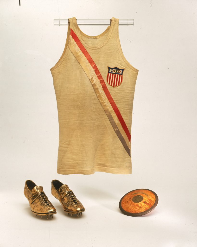 Jersey, discus and bronzed shoes from 1932 gold medalist Lillian Copeland.