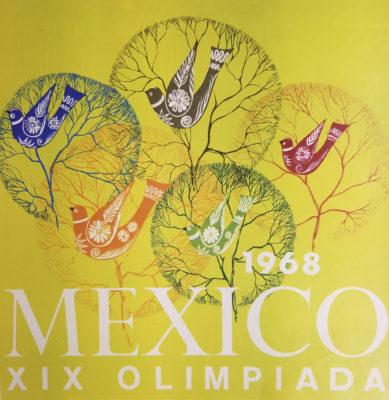 Mexico 68, Juegos de la XIX Olimpiada Advertising Poster. Offset Lithograph 12 x 12 inches Comité Organizador de la XIX Olimpida Departmento de Diseño Impresa en Mexico Por Impresos Automaticos de Mexico, S.A.