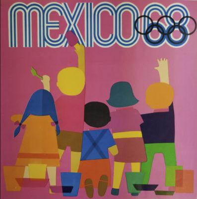 Mexico 68 Advertising Poster. Offset Lithograph 12 x 12 inches Comité Organizador de la XIX Olimpida Departmento de Diseño Impresa en Mexico Por Lito Offset Impremex, S.A.