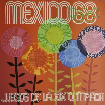 Mexico 68, Juegos de la XIX Olimpiada Advertising Poster. Offset Lithograph 12 x 12 inches Comité Organizador de la XIX Olimpida Impreso en Mexico Por Miguel Galas, SA