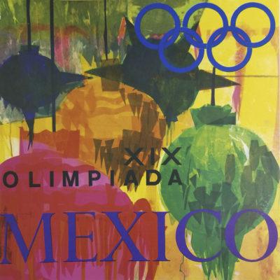 Mexico XIX Olimpiada Advertising Poster. Offset Lithograph 37 ½ x 37 ½ inches Comité Organizador de la XIX Olimpida Departmento de Diseño Impresa en Mexico Por Impresos Automaticos de Mexico, S.A.