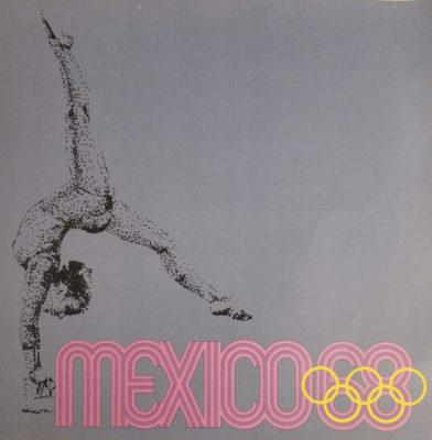 Mexico 68 XIX Olimpiada Sports Poster, Balance Beam. Offset lithograph 12 x 12 inches Comité Organizador de la XIX Olimpida Impresa en Mexico Por Miguel Galas, S.A.
