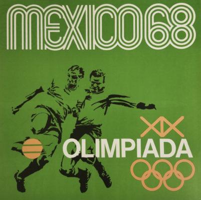 Mexico 68 XIX Olimpiada Sports Poster, Soccer. Offset lithograph 12 x 12 inches Comité Organizador de la XIX Olimpida Impresa de Industria Y Comercio, S.A.