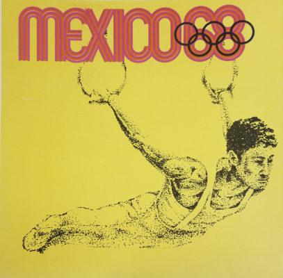Mexico 68 XIX Olimpiada Sports Poster, Rings. Offset lithograph 12 x 12 inches Comité Organizador de la XIX Olimpida Impresa en Mexico Por Miguel Galas, S.A.