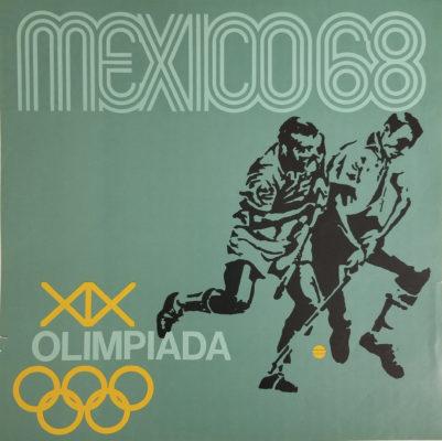 Mexico 68 XIX Olimpiada Sports Poster, Field Hockey. Offset lithograph 12 x 12 inches Comité Organizador de la XIX Olimpida Impresa de Industria Y Comercio, S.A