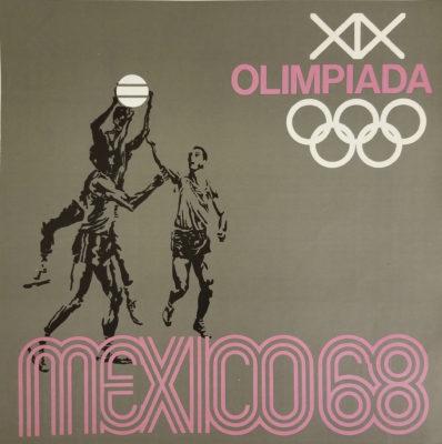 Mexico 68 XIX Olimpiada Sports Poster, Basketball. Offset lithograph 12 x 12 inches Comité Organizador de la XIX Olimpida Impresa de Industria Y Comercio, S.A.