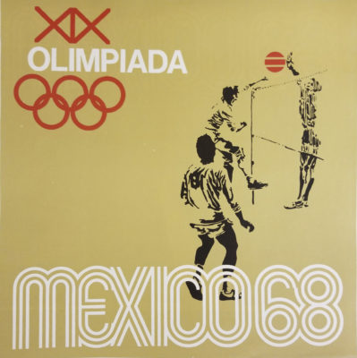 Mexico 68 XIX Olimpiada Sports Poster, Volleyball. Offset lithograph 12 x 12 inches Comité Organizador de la XIX Olimpida Impresa de Industria Y Comercio, S.A.