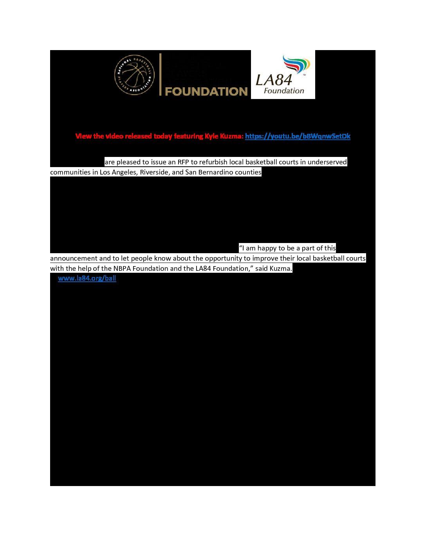 LA84 NBA Grant RFP Release June 2018 FINAL - LA84 Foundation