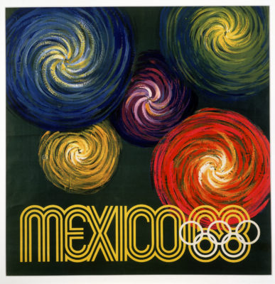 XIX Olimpiada Mexico Advertising Poster. Offset Lithograph 37 ½ x 37 ½ inches Comité Organizador de la XIX Olimpida Departmento de Diseño Impresa en Mexico Por Impresos Automaticos de Mexico, S.A.