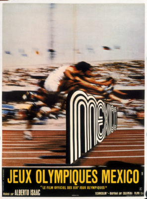 Jeux Olympiques Mexico Film Poster. Offset Lithograph 30 ⅞x 22 ⅝ inches G. Kerfyser Columbia Films, S.A. CA, Paris Lalande-Courset 91-Wissous