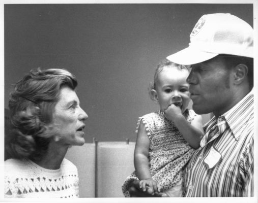 Rafer Johnson speaking with Eunice Kennedy Shriver