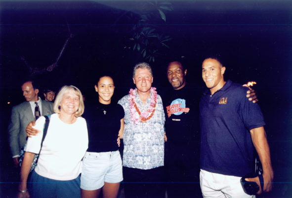 Rafer Johnson with former U.S,. President Bill Clinton