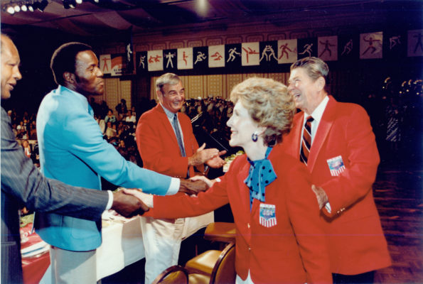 Rafer Johnson meeting the Reagans