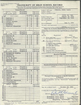 Rafer Johnson's report card