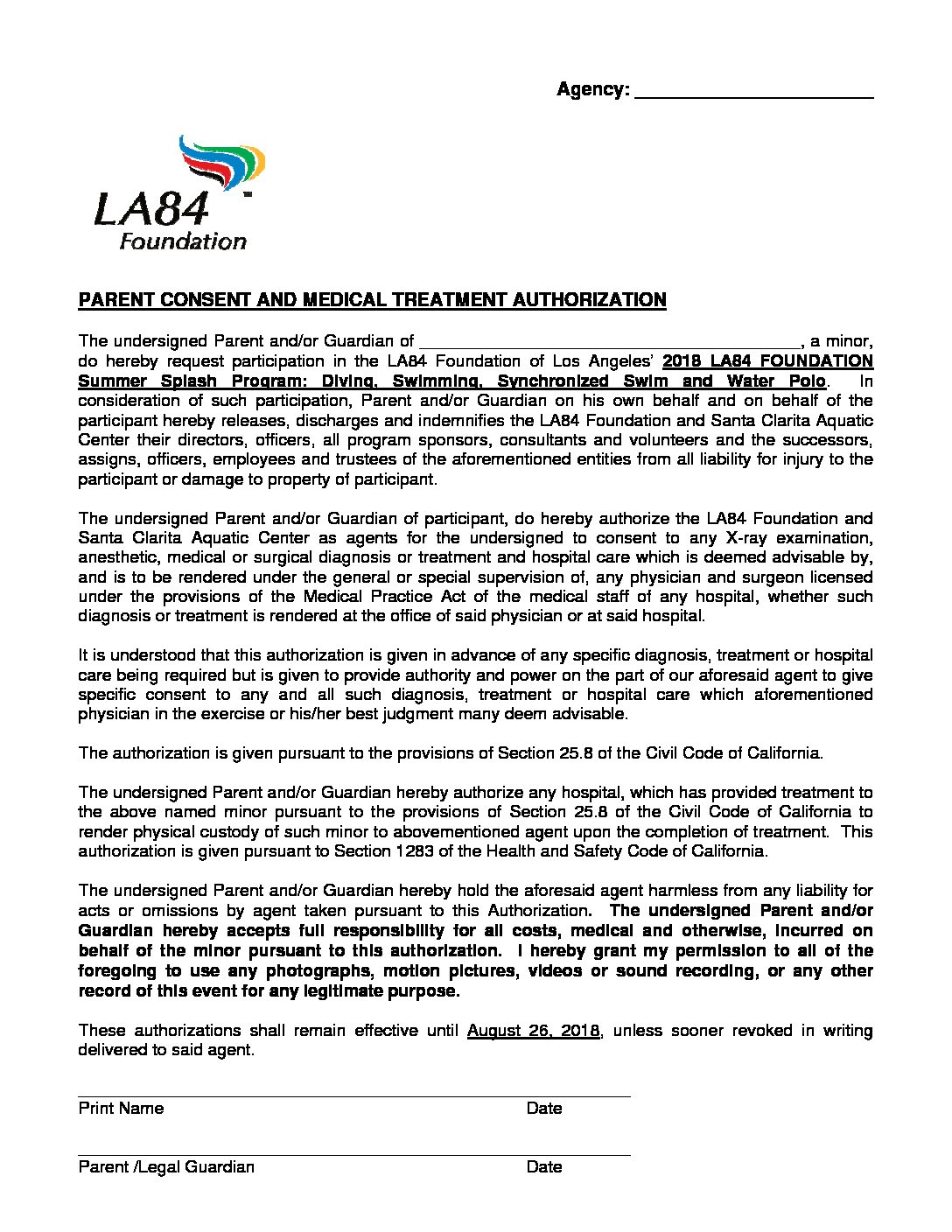 Ss18 Parental Consent Form La84 Foundation