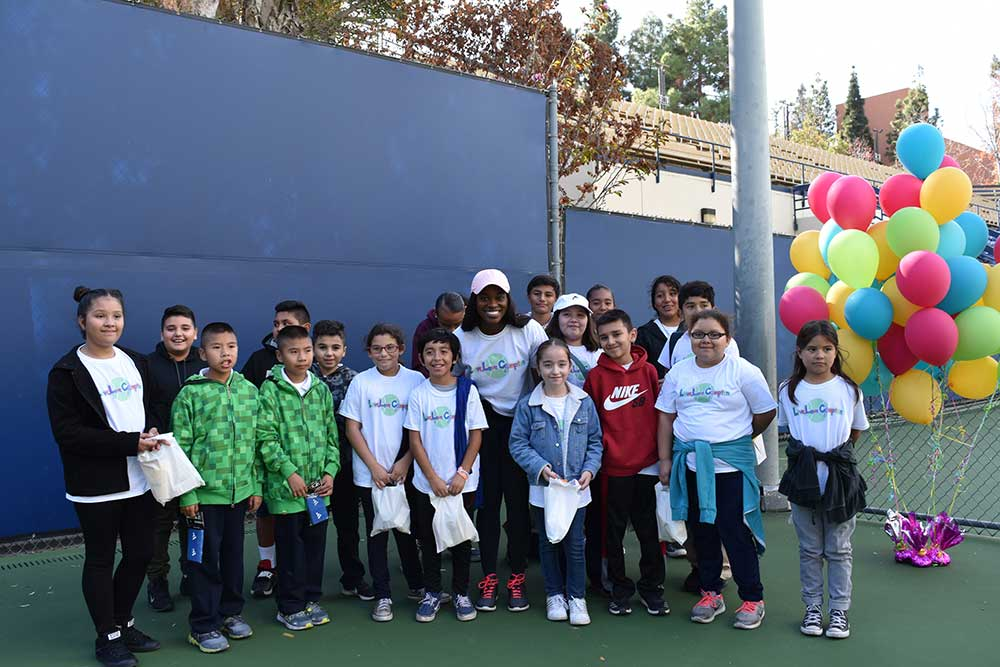 2017 US Open champion Sloane Stephens, with youth her Foundation serves. The Sloane Stephens Foundation is a first-time LA84 Foundation grantee.